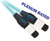 Fiber Optic Cable, OM3, MTP, Plenum, 12 Fiber, 10 Gig Aqua, 50/125, Multimode, 5 Meter
