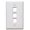 Quickport Wallplate, 3-Port, Gray