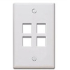 Quickport Wallplate, 4-Port, Ivory