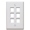 Quickport Wallplate, 6-Port, White