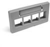 Quickport Modular Furniture Faceplate, 4-Port, Gray