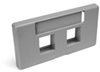 Quickport Modular Furniture Faceplate, 2-Port, Gray