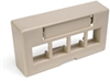Quickport Modular Furniture Ext. Depth Faceplate, 4-Port, Ivory