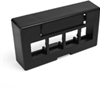 Quickport Modular Furniture Ext. Depth Faceplate, 4-Port, Black