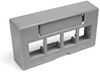 Quickport Modular Furniture Ext. Depth Faceplate, 4-Port, Gray