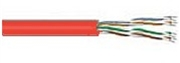 Bulk Cable, Cat 5E, 4 Pair 24 AWG Solid, Shielded Plenum, Red / 1000 FT
