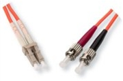Fiber Optic Cable, OM1, Plenum, Multimode, 62.5/125, Duplex, LC-ST, 1 Meter