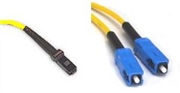 Fiber Optic Cable, OS2, Plenum, Singlemode, 9/125, Duplex, MTRJ-SC, 30 Meters