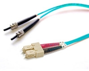 Fiber Optic Cable, OM3, Plenum, Multimode, 50/125, Duplex, 10 Gig Aqua, ST-SC, 2 Meters
