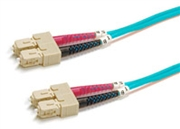 Fiber Optic Cable, OM3, Plenum, Multimode, 50/125, Duplex, 10 Gig Aqua, SC-SC, 5 Meters