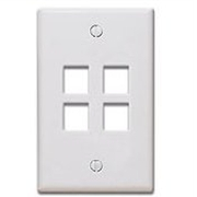Quickport Wallplate, 4-Port, White