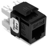 Quickport Gigamax 5E+ Cat 5E Connector, Component Rated, Black 25 Pack